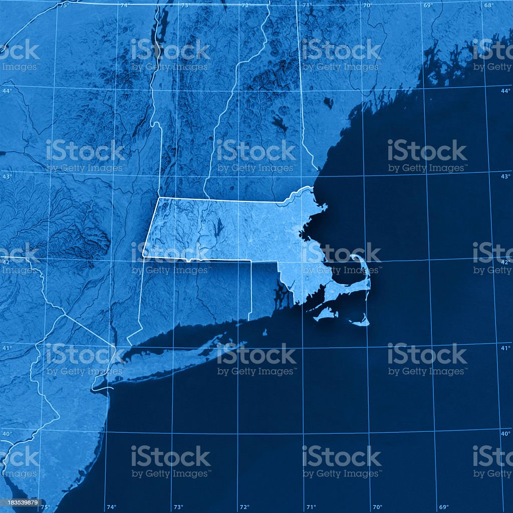 Massachusetts Topographic Map stock photo