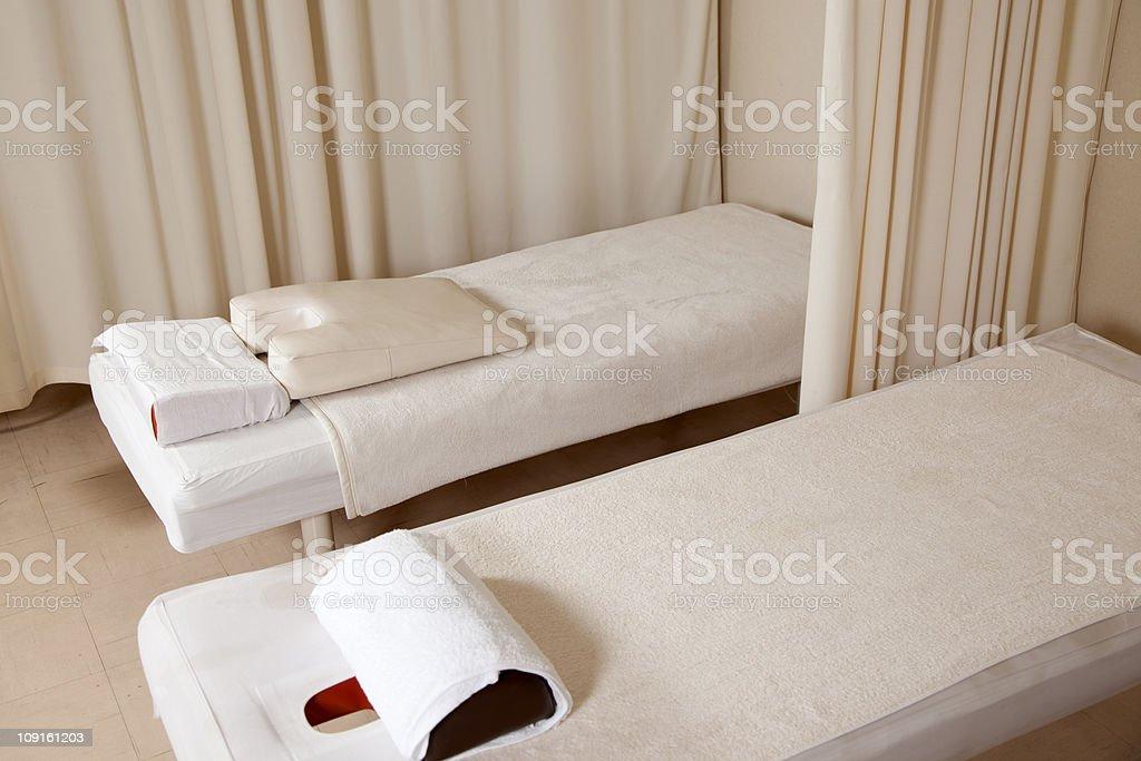 massage beds stock photo