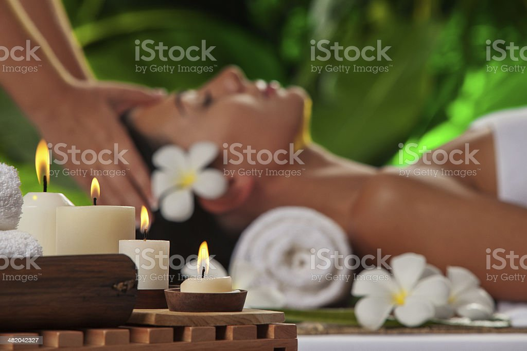 massage. focused on candles stock photo