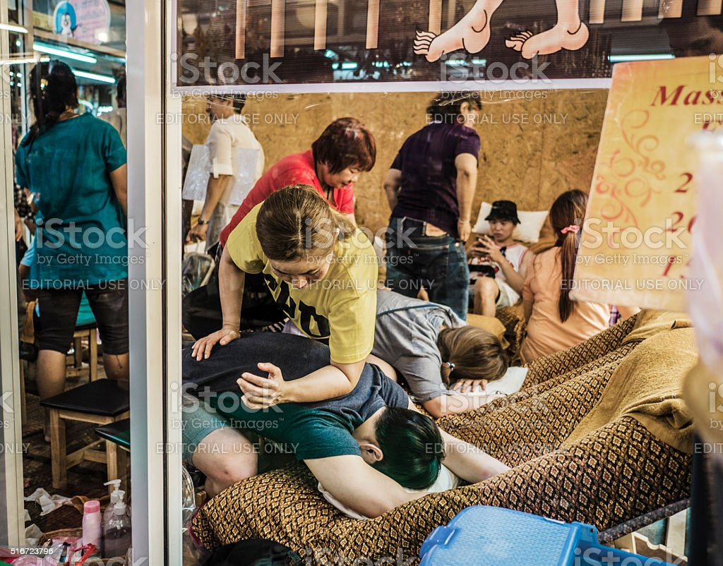 Massage in Chatuchak market Bangkok stock photo
