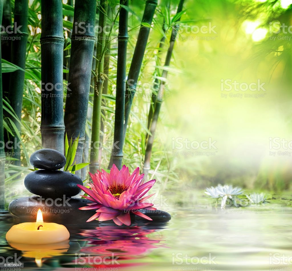 massage in nature - zen concept stock photo