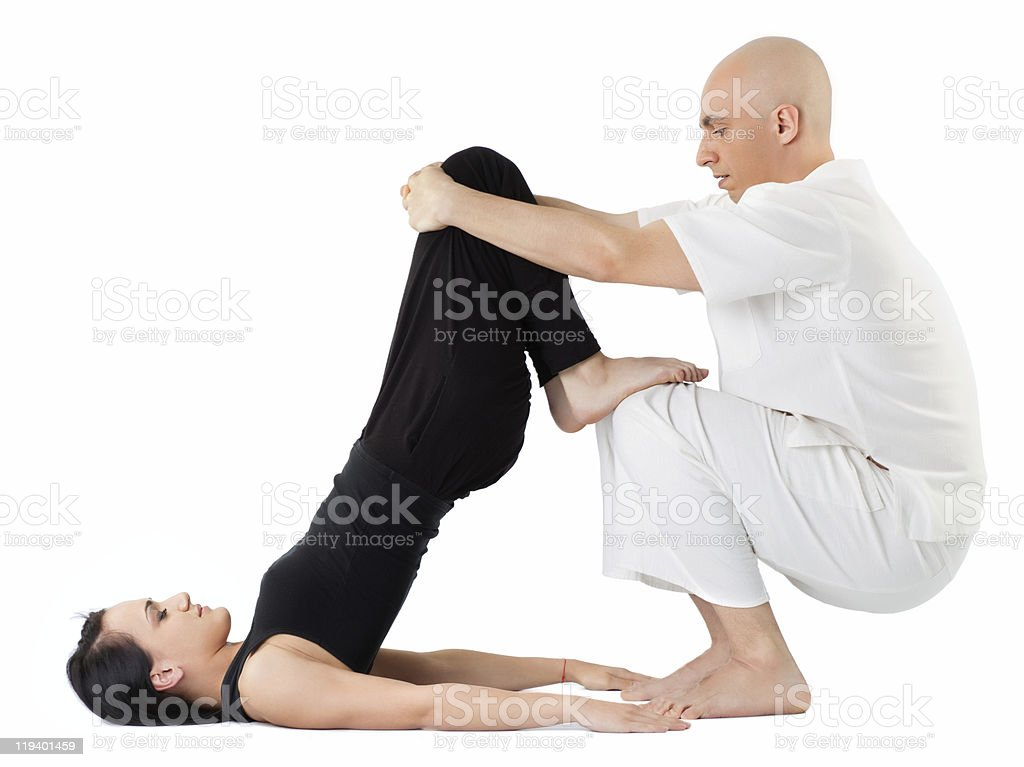Massage in thai position royalty-free stock photo