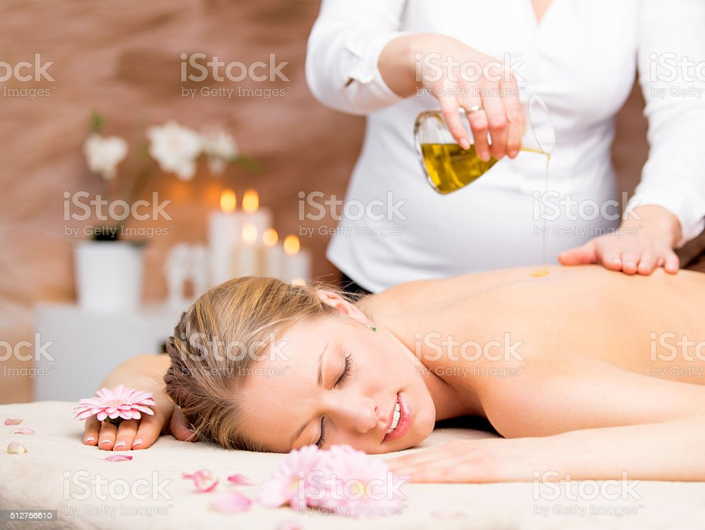 Massage in the spa stock photo