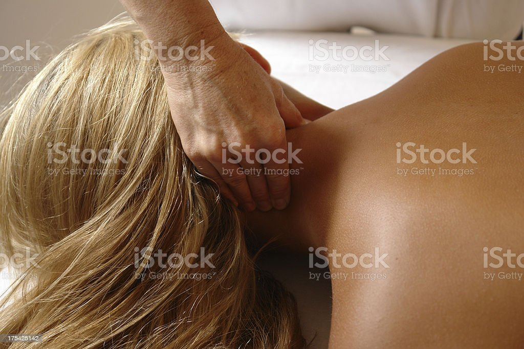 massage neck squeeze royalty-free stock photo