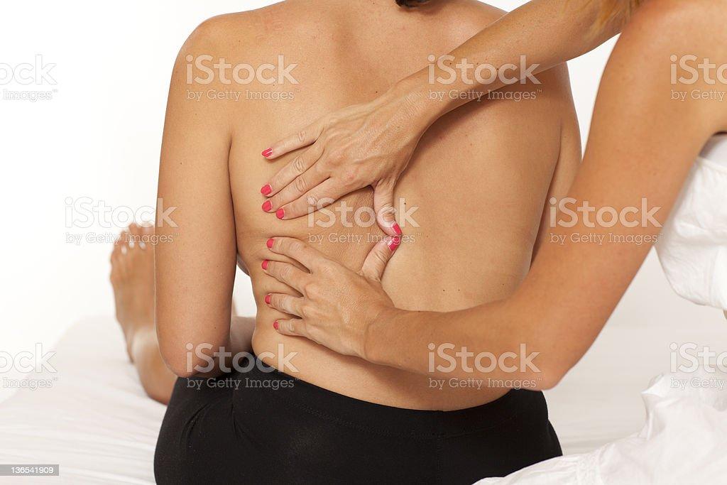 Massage of back on white background royalty-free stock photo