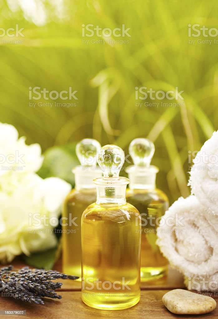 Massage oil bottles at spa royalty-free stock photo