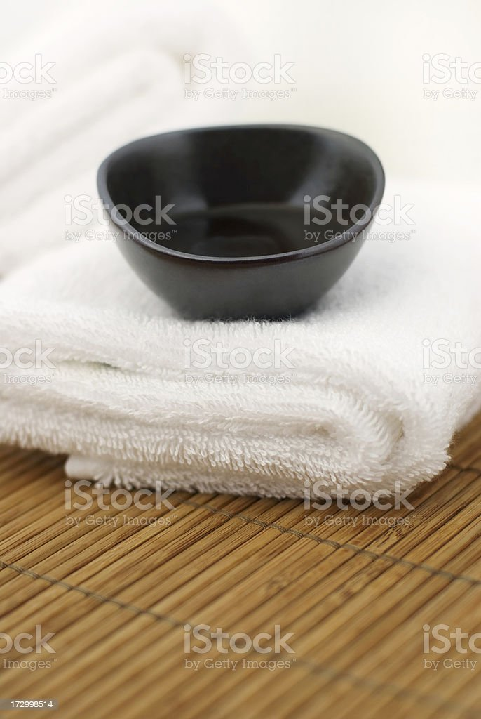 Massage Oil on a Towel royalty-free stock photo
