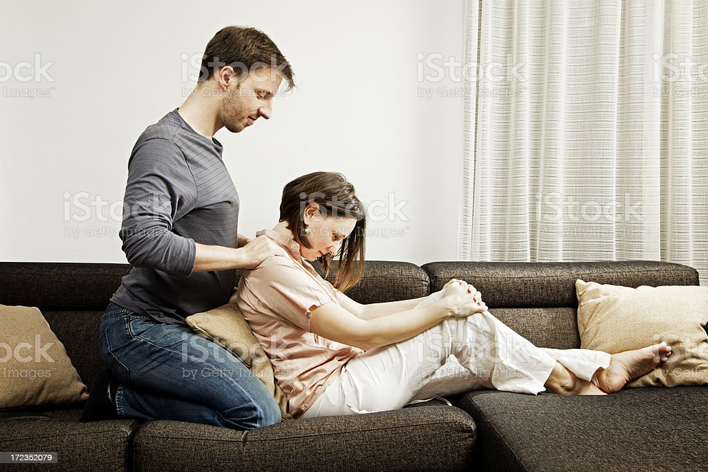 Massage on a couch stock photo
