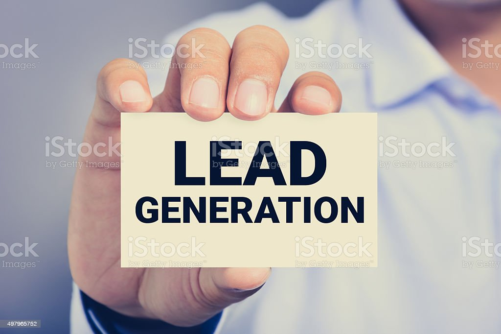 LEAD GENERATION, massage on the card shown by a man stock photo