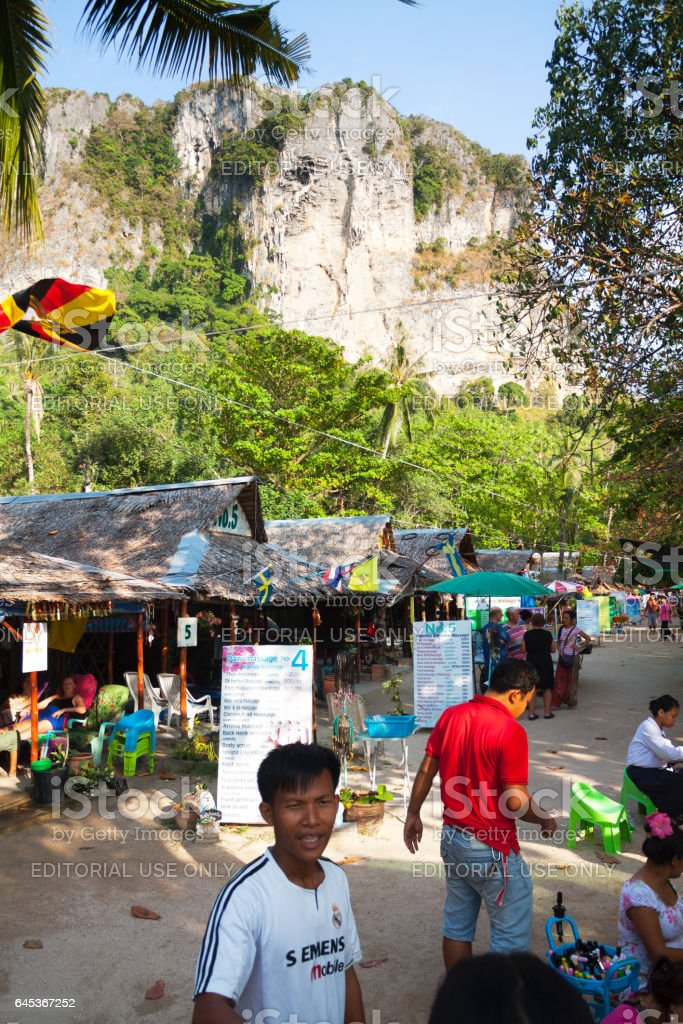 Massage places and people at beach of Ao Nang stock photo