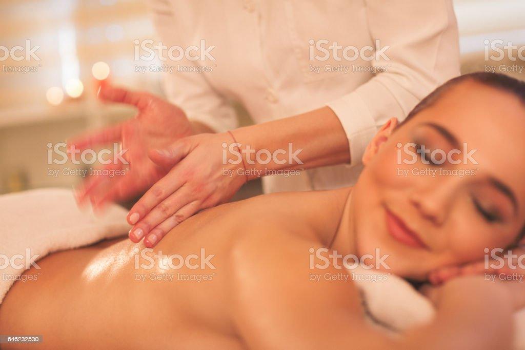 Massage process stock photo