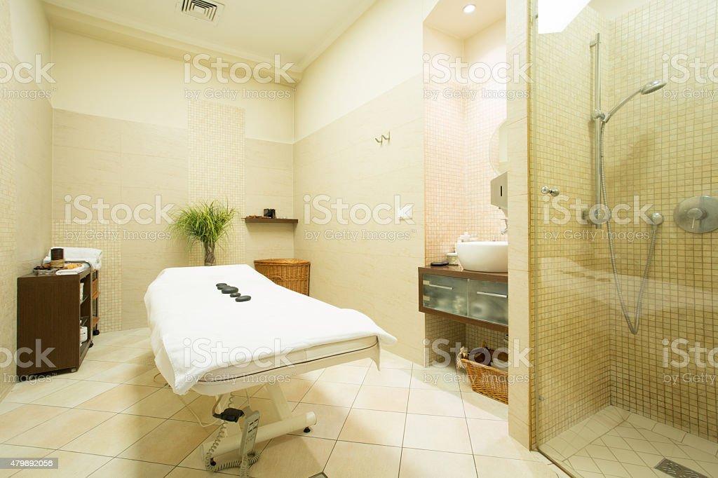 Massage room in wellness center stock photo