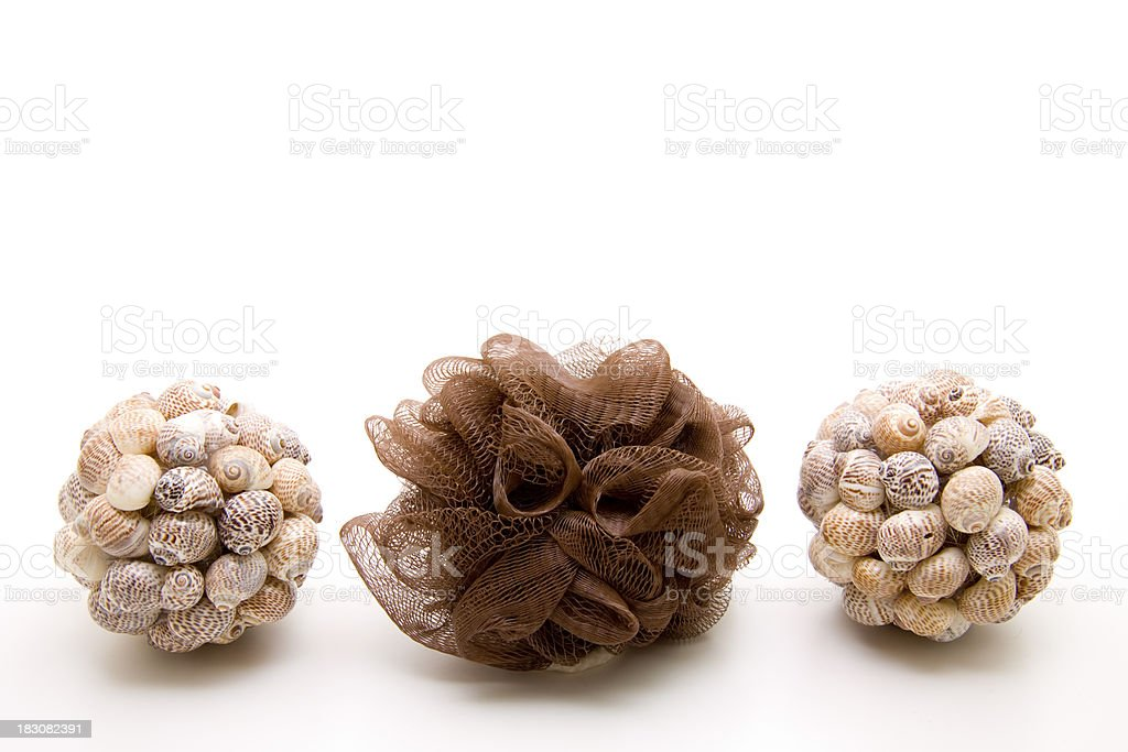 Massage sponge and mussel sphere royalty-free stock photo