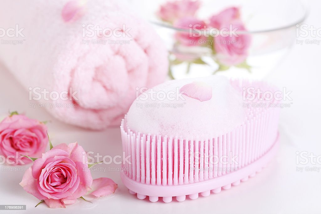 massage sponge foam- beauty treatment stock photo