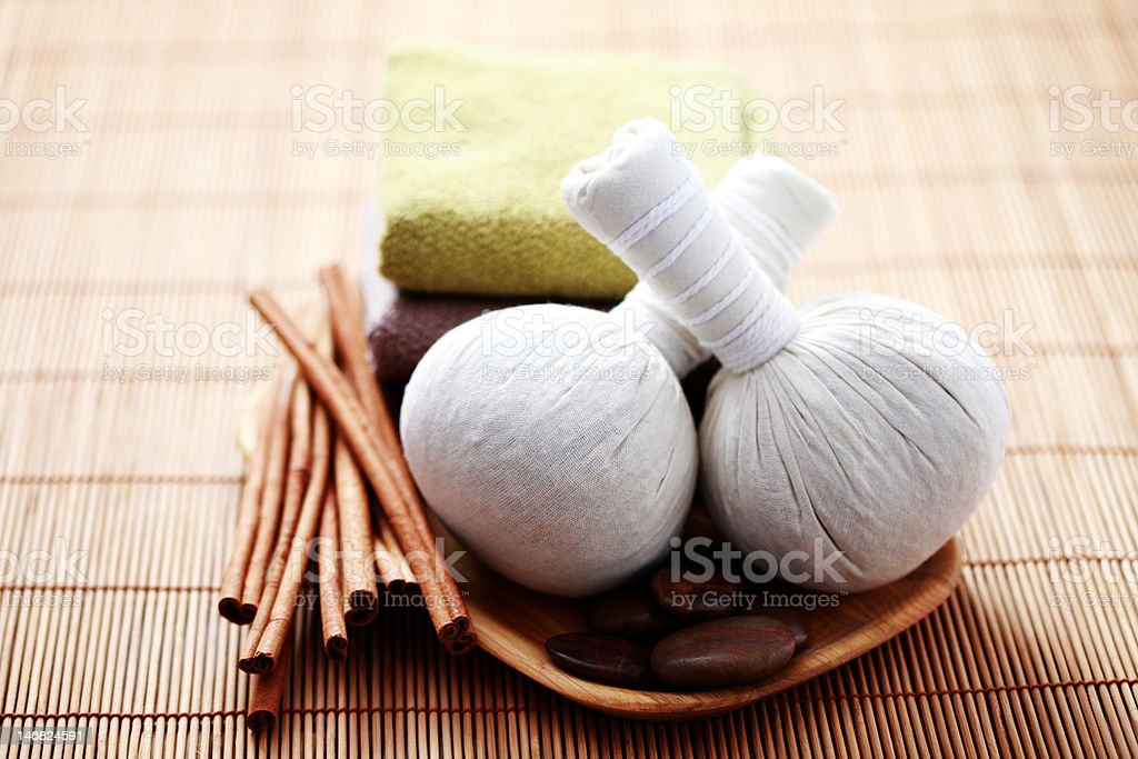 massage stamps with cinnamon royalty-free stock photo