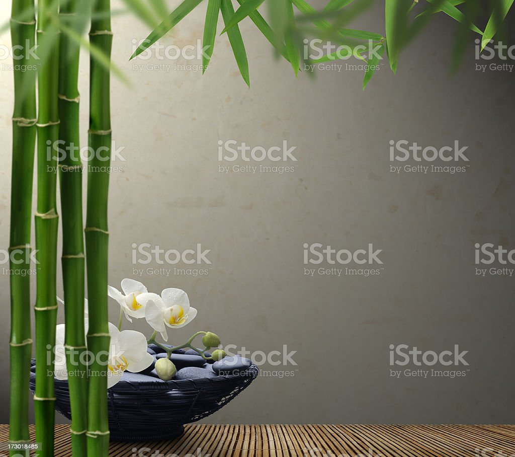 Massage Stones and Bamboo royalty-free stock photo