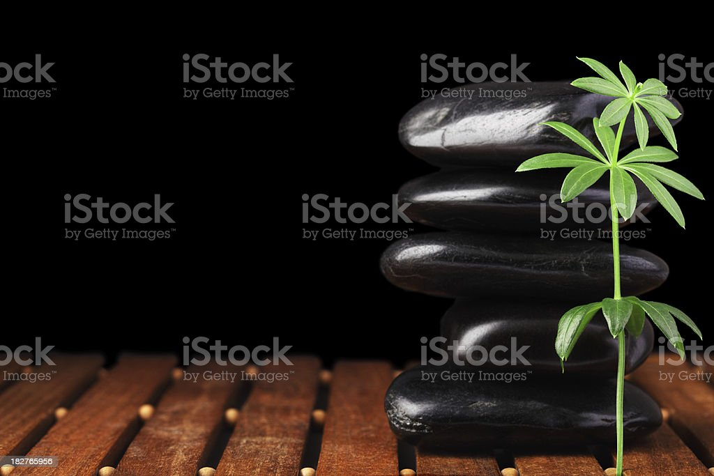 Massage Stones with Leaves royalty-free stock photo