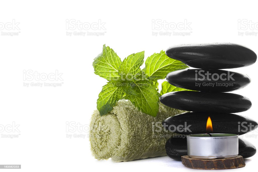 Massage Stones with Mint Leaves royalty-free stock photo