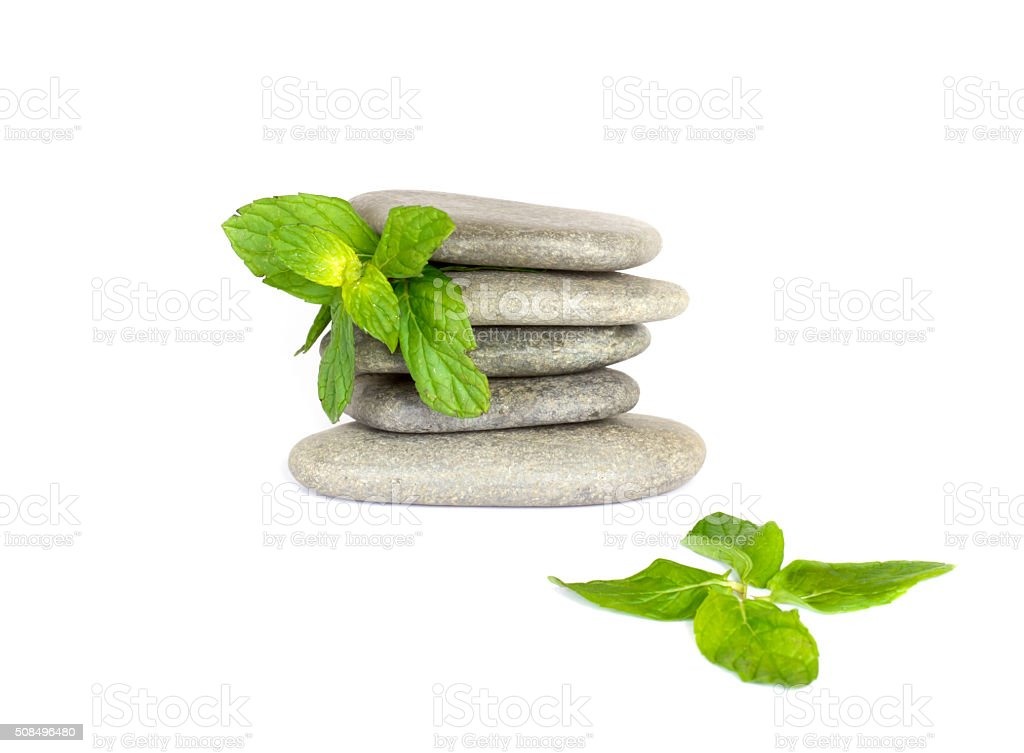Massage Stones with Mint Leaves stock photo