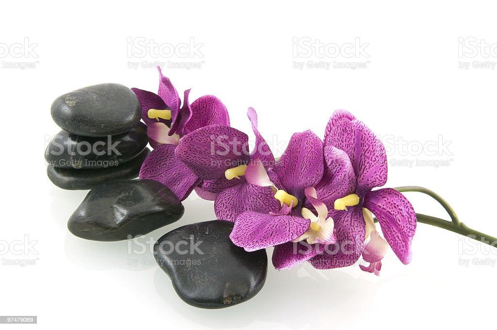 Pierres de Massage avec orchidée rose photo libre de droits