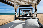 Massage table on beach in Vilamoura, Portugal