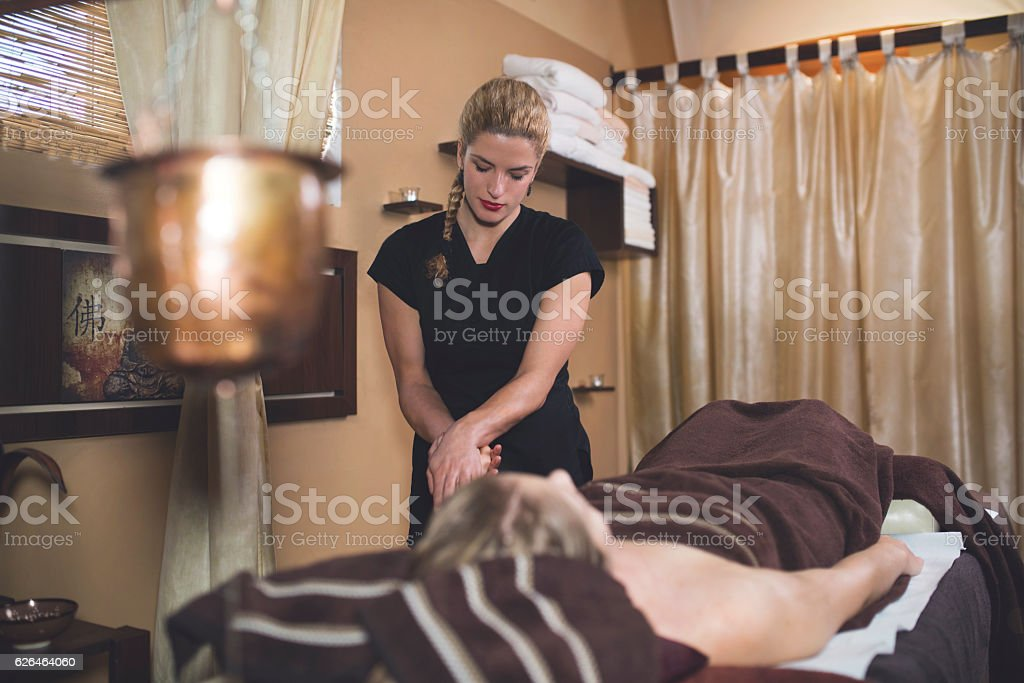 Massage Therapist At Work stock photo