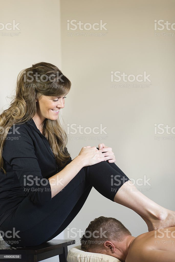 Massage with Feet royalty-free stock photo