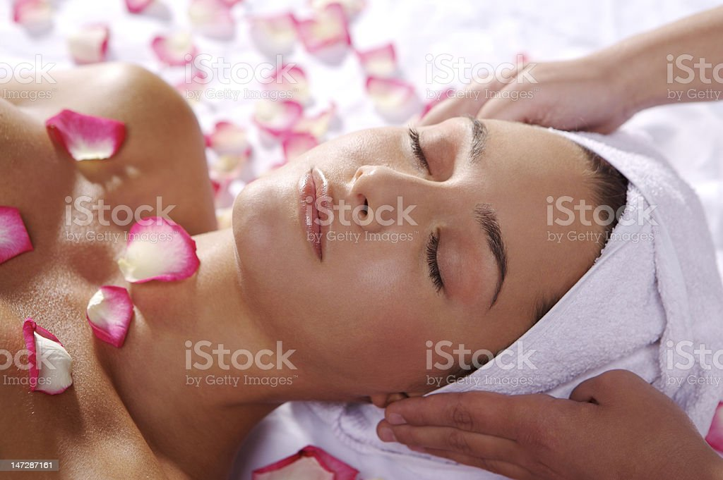 massage with towel stock photo