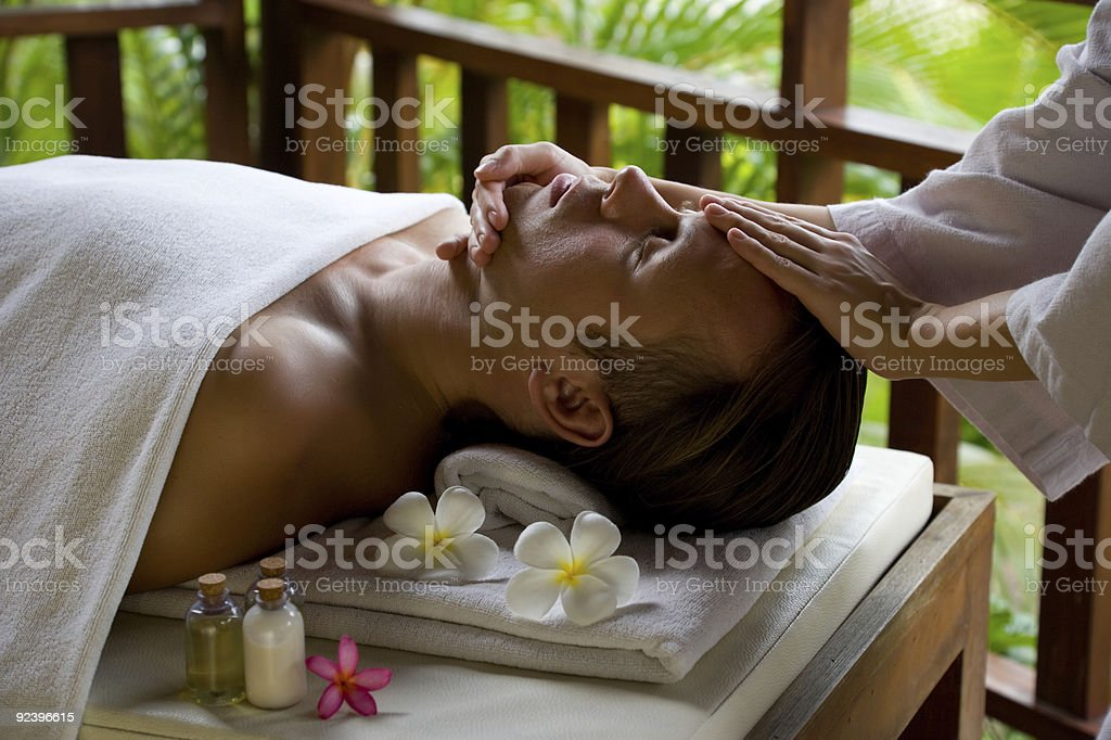 Massage,flower,spa gels in outdoors royalty-free stock photo