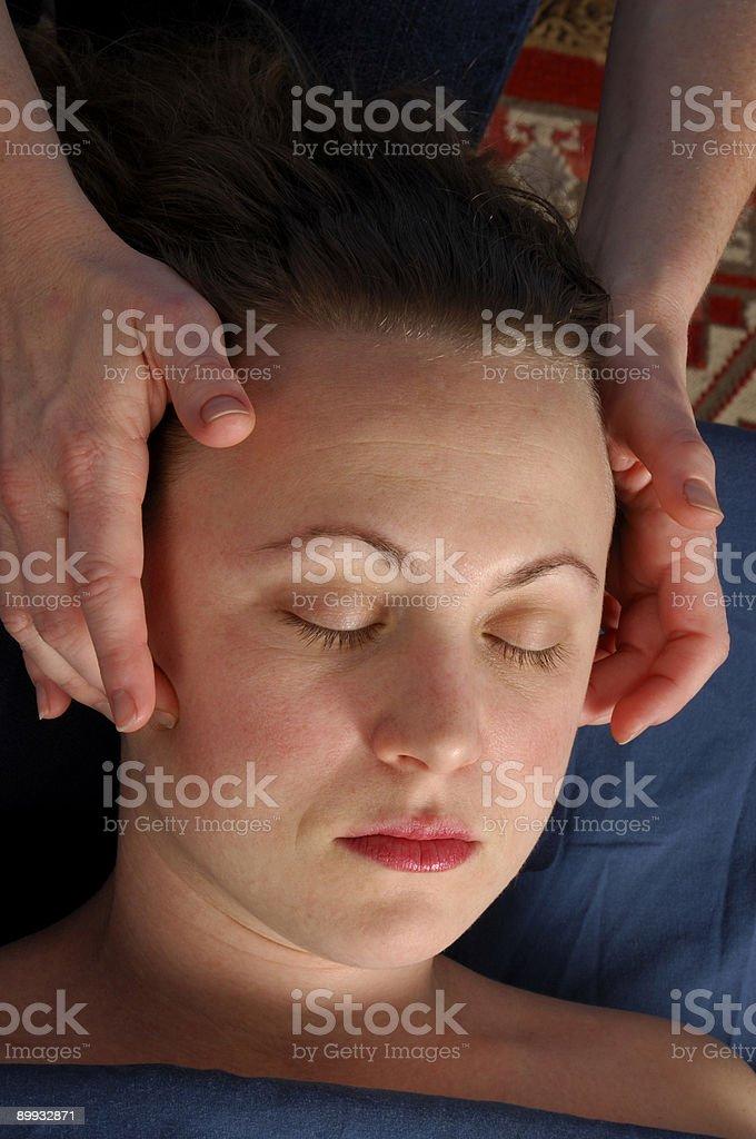 Massaging Face at Day Spa Salon royalty-free stock photo