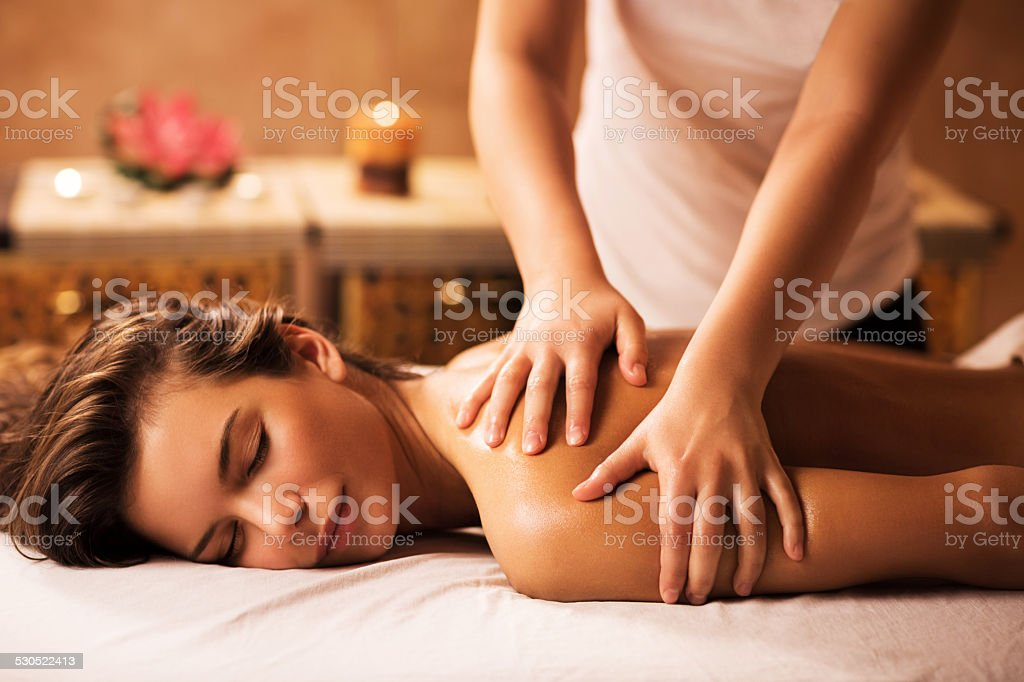 Massaging in the spa. stock photo