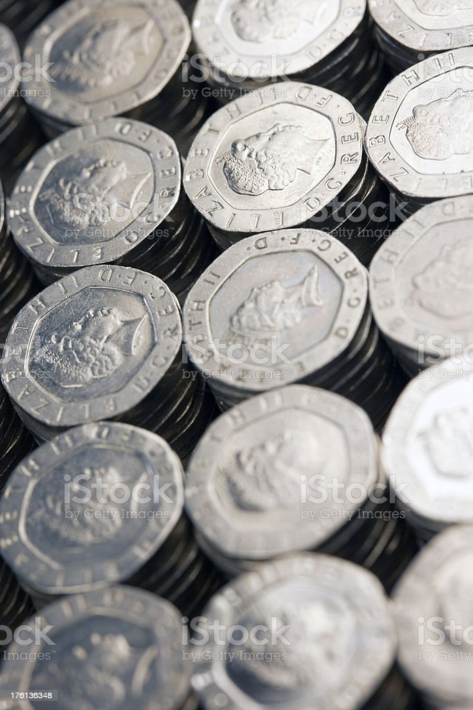 Massed British Silver Coins stock photo