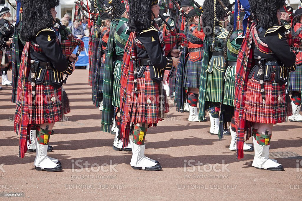 'Massed Pipe Band; George Square, Glasgow' stock photo