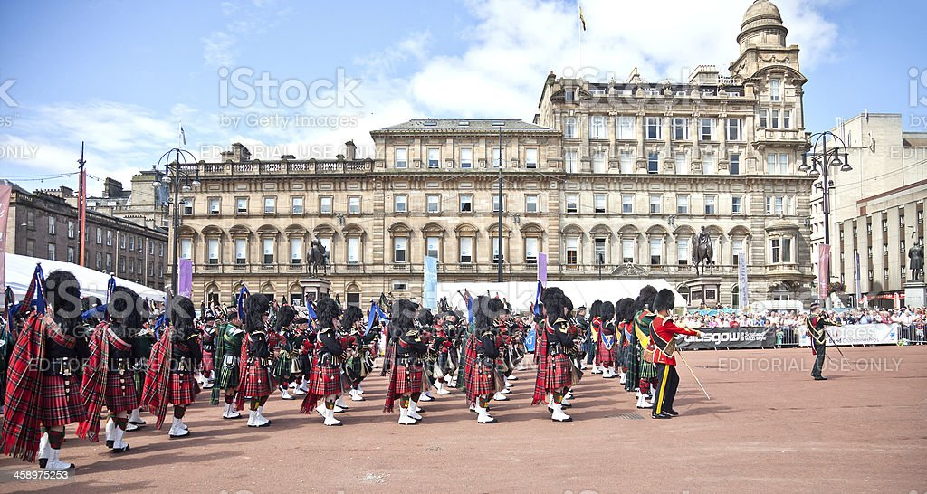Massed Pipe Band; George Square, Glasgow stock photo