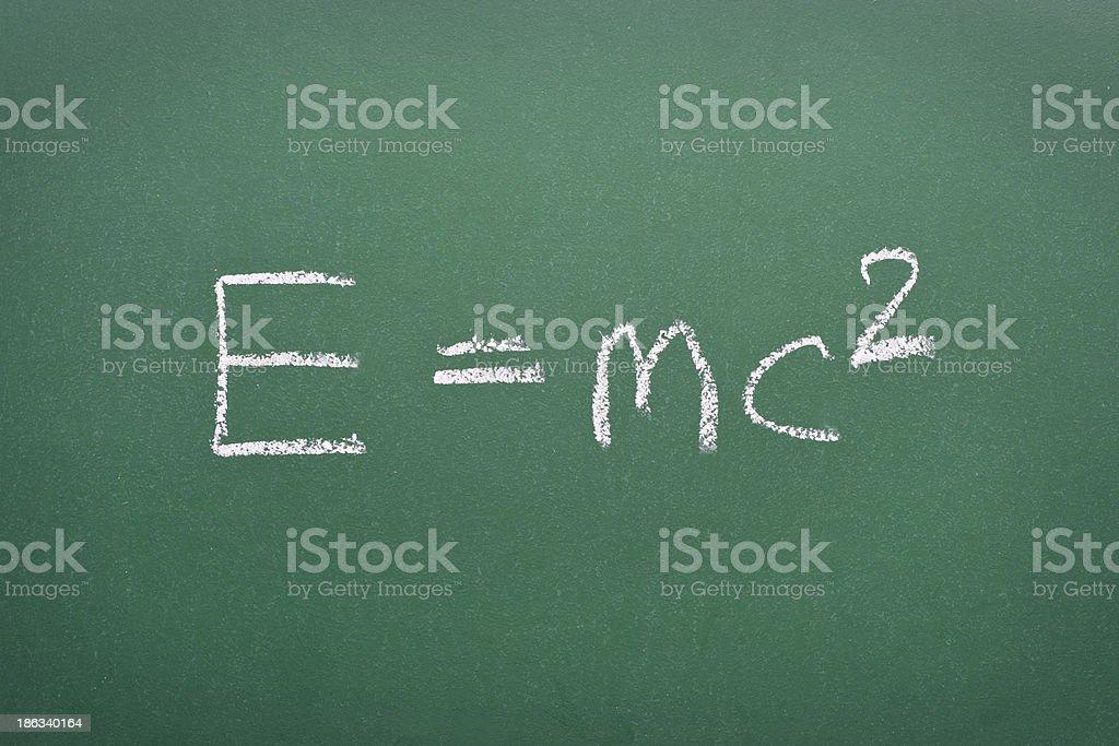 Mass-energy equivalence formula stock photo