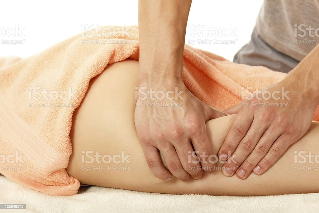 masseur makes anti-cellulite massage young woman royalty-free stock photo