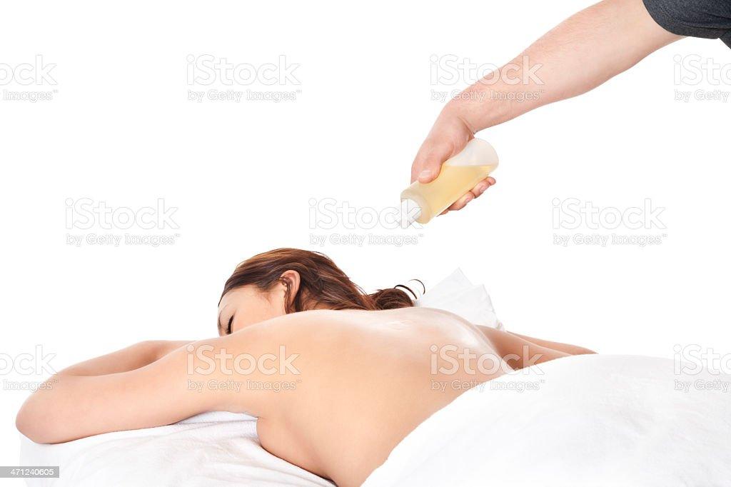 Masseuse Applying Massage Oil royalty-free stock photo