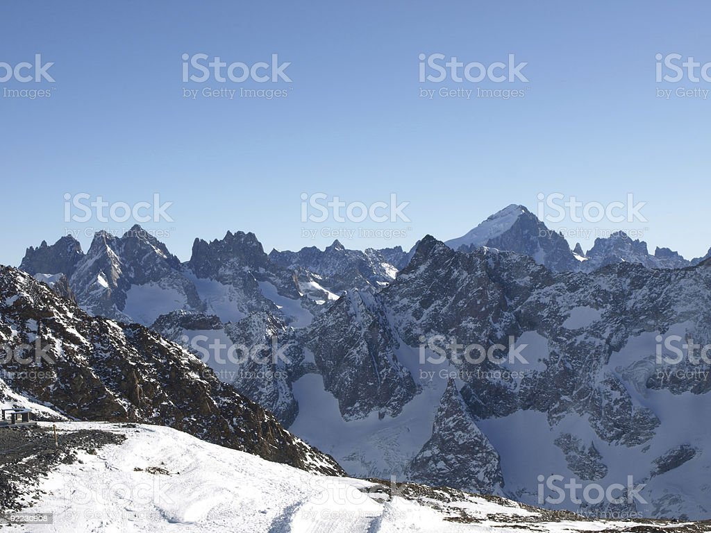 massiv des ecrins in france near 2 Alpes La grave stock photo