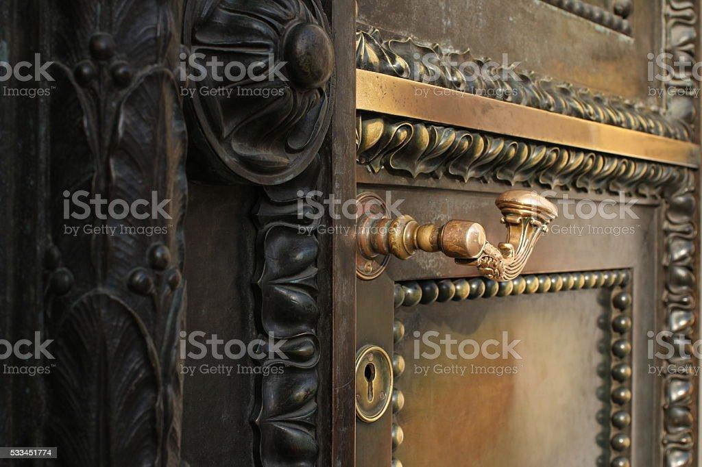 massive ancient  door stock photo