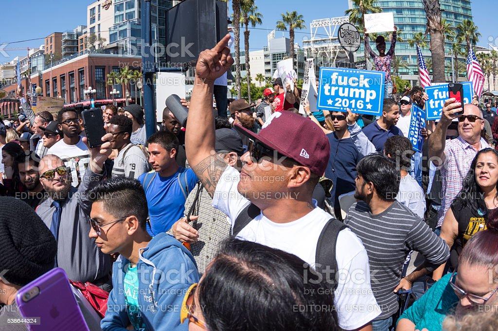 Massive anti-Trump protest crowd stock photo