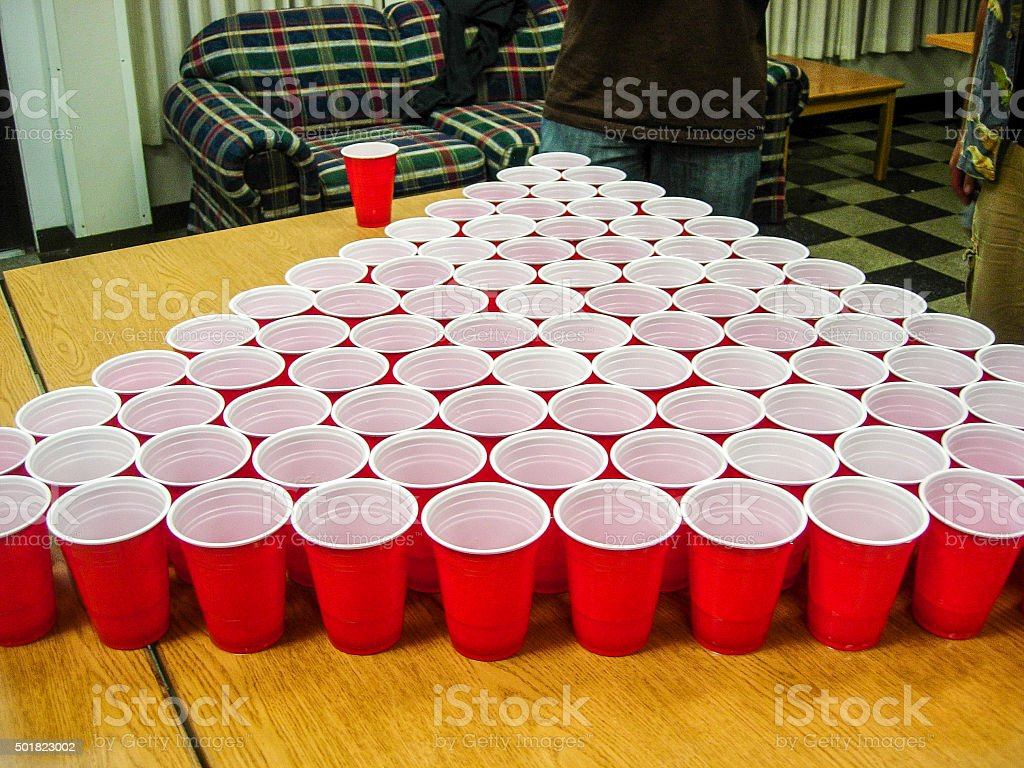 Massive college beer pong game stock photo