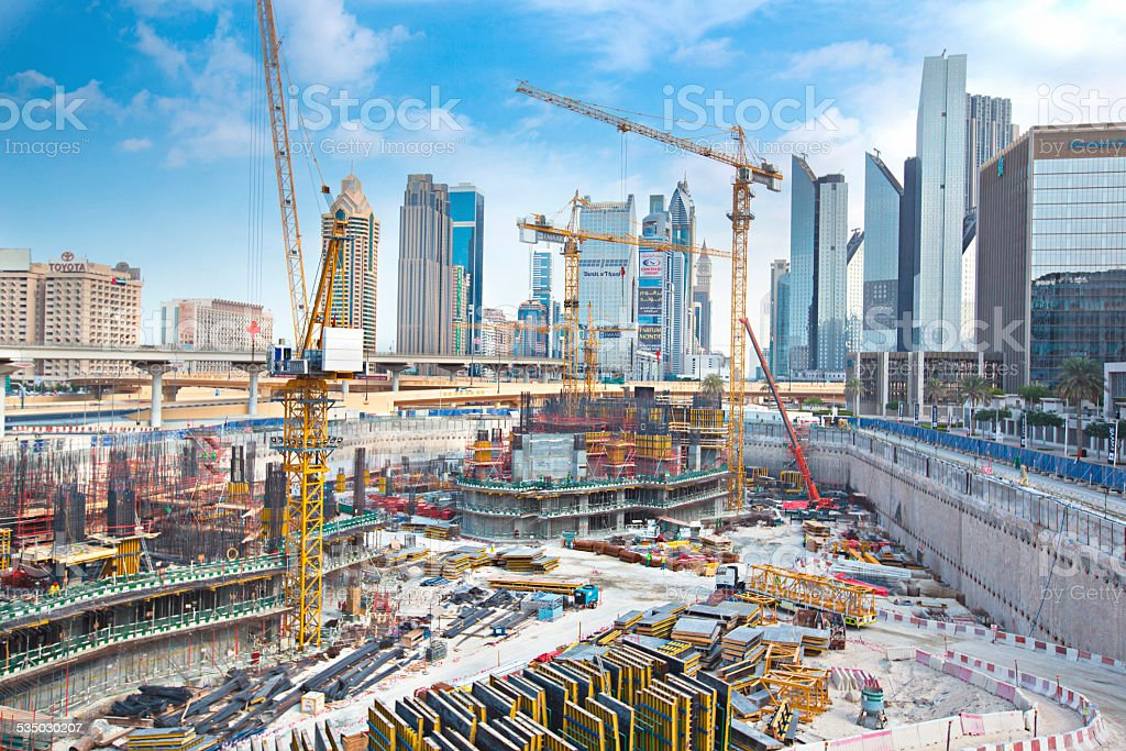 Massive construction in Dubai stock photo