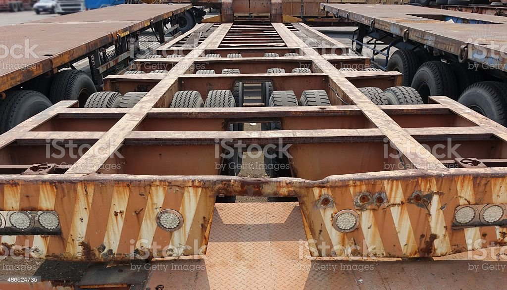 Massive Container Chassis Trailer stock photo