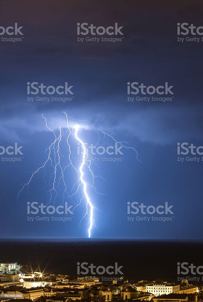 Massive drammatic cloud to ground lightning bolts hitting the horizon...