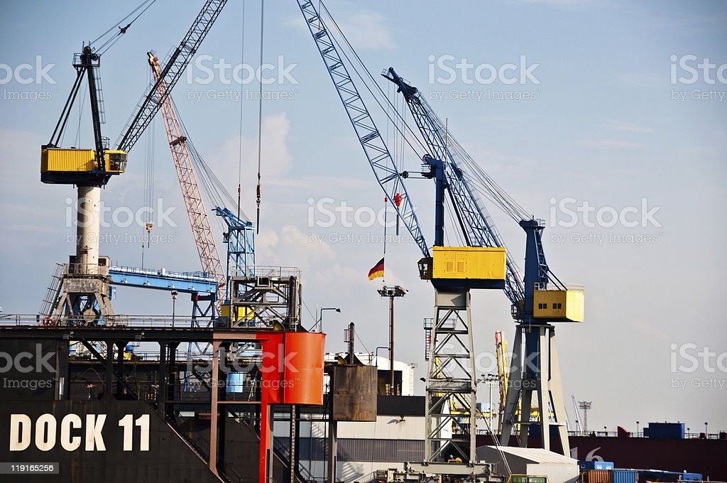 Massive Dry-Dock in Hamburg Harbor, Germany royalty-free stock photo