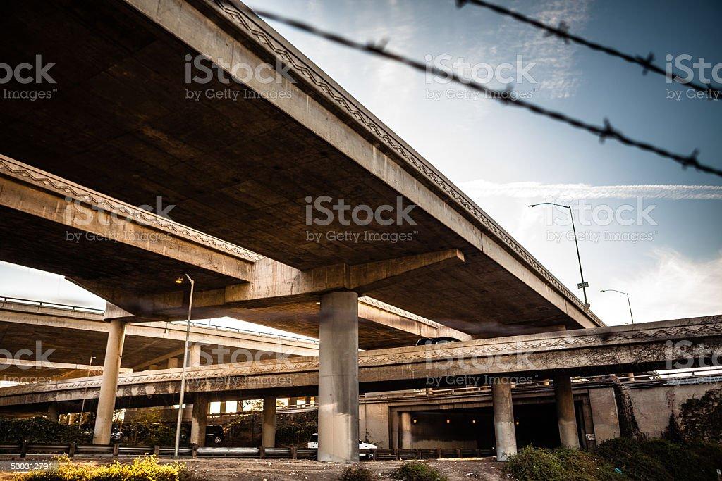 Massive I-10 & 110 L.A. Freeway Interchange royalty-free stock photo