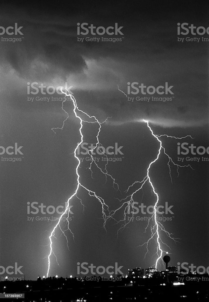 Massive lightning bolts and storm strike Littleton Colorado stock photo