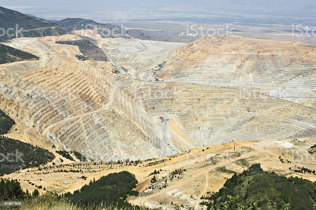 Massive open pit mine stock photo