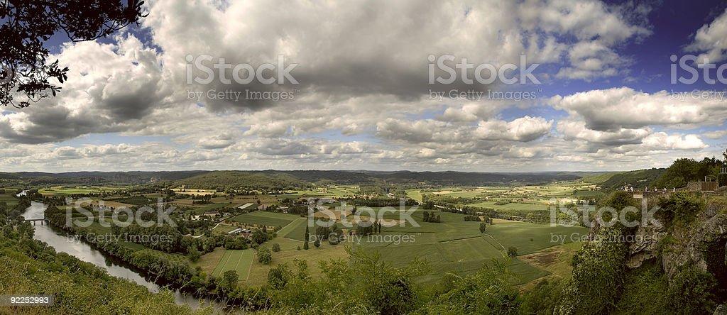 Massive Panarama of the beautiful Dordogne Valley stock photo