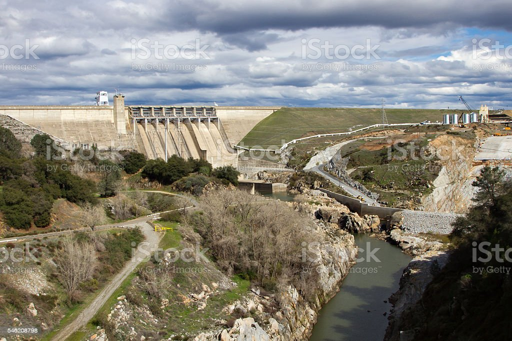 Massive Renovation Of Folsom Dam stock photo